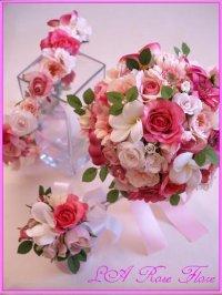 バラとプルメリアのブーケと花冠のセット(アーティシャルフラワー)