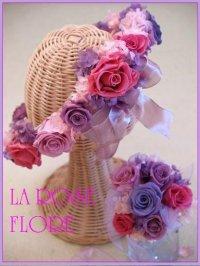 ピンクxパープルのおリボン付き花冠