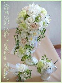 白バラとランのキャスケードブーケ&ヘッドドレス&ブートニア