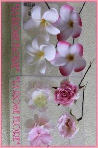 アーティフィシャルフラワー バラとプルメリアのヘアピン