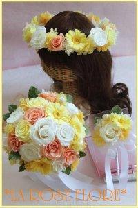 バラとガーベラのラウンドブーケ&花冠&ブートニア ソフトイエローxジュリアオレンジ