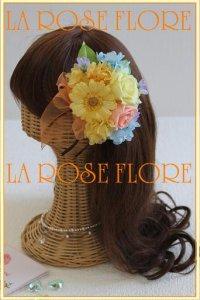モーニングイエローのバラとガーベラのヘッドドレス