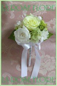 白xライトグリーンの花冠&ブートニア