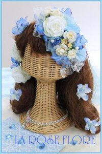 白x水色のヘッドドレス&ヘアピンのセット
