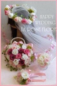 ハート型ハンドバックブーケ&花冠&ブレスレット&ブートニア&お花のチュール