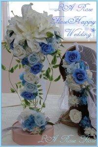 白x青x水色のキャスケードブーケ&ヘッドドレス&ヘアピン&ブートニアのセット