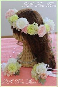 白xピンクx緑の花冠