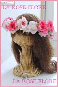 ピンクローズの花冠 アーティフィシャルフラワー