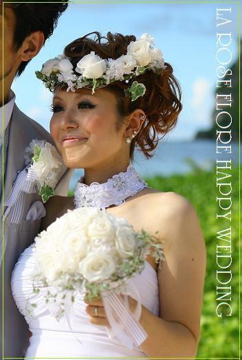 画像1: ホワイトローズの花冠