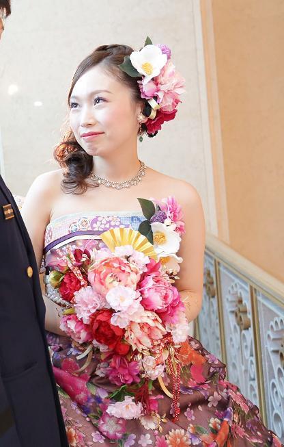 画像1: 和ドレス用扇子ブーケ