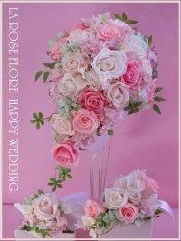 白xピンクのティアドロップブーケ&ヘッドドレス&ブートニア