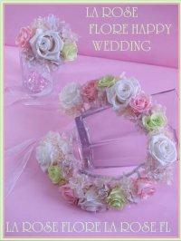 白xライトピンクxグリーンの花冠&ブレスレット