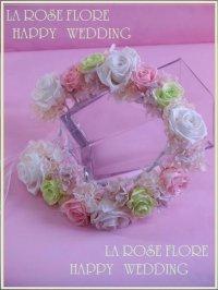 白xライトピンクxグリーンの花冠