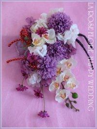和装用ヘッドドレス 白x紫