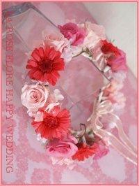 バラとガーベラの花冠