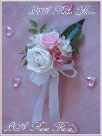 リリーメリアとバラのキャスケードブーケ ピンク