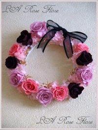ピンクxブラック・おリボンの花冠