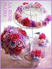 ピンクxパープルのラウンドブーケ&花冠&ブレスレット&ブートニア