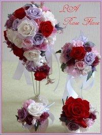 赤x白x紫のティアドロップブーケ&トス用ブーケ&ヘッドドレス&ブートニア