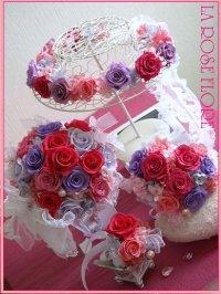 おリボンレースのラウンドブーケ&花冠&3つになるハート型トス用ブーケ&ブートニア