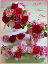 赤xピンクのバラのラウンドブーケ&トス用ブーケ&ヘッドドレス&ブートニア