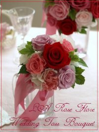 赤xピンクのバラのラウンドブーケ&トス用ブーケ