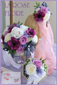 白xパープル バラとアネモネのラウンドブーケ&ヘッドドレス&ブートニア