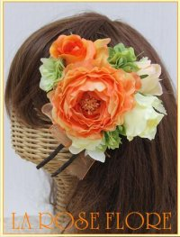 オレンジxイエローのラナンキュラスのヘッドドレス