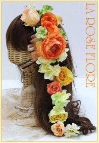 オレンジxイエローのラナンキュラスのヘッドドレス&ヘアピン