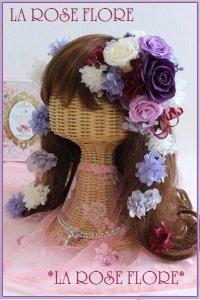 パープルローズのヘッドドレス&ヘアピン