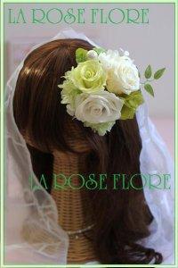 白xライトグリーンのバラのヘッドドレス