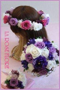 アネモネx白バラxパープルのラウンドブーケ&花冠のセット