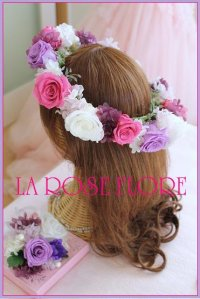 白バラxパープルxピンクの花冠