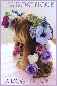 アネモネとパープルローズのヘッドドレス&ヘアピンのセット