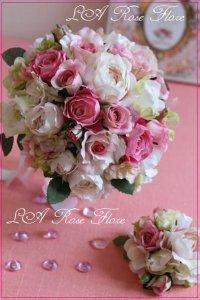 アーティフィシャルフラワー ピンクのバラのラウンドブーケ