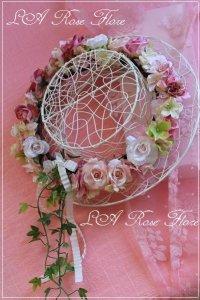 アーティフィシャルフラワー ピンクのバラの花冠