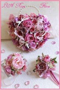 アーティフィシャルフラワー ピンクのハート形バックブーケ&ブレスレット&ブートニア