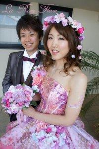 ピンクxホットピンクの花冠