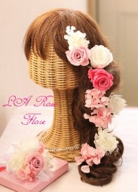 ピンクと白のバラのヘッドドレス&ヘアピン