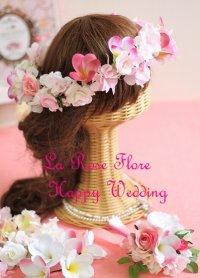 バラとプルメリアの花冠