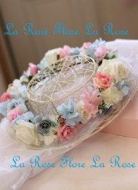 白xピンクx水色の花冠