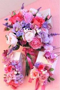 ピンクパープルのクラッチブーケ&ヘッドドレス&ヘアピン&ブートニアのセット