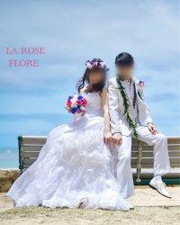白x青xホットピンクのラウンドブーケ&花冠&ブートニアのセット