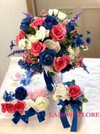 白x青xピンクのクラッチブーケ&ヘアピン&ブートニアのセット