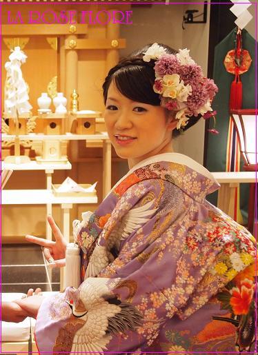 画像1: 和装用ヘッドドレス 白x紫