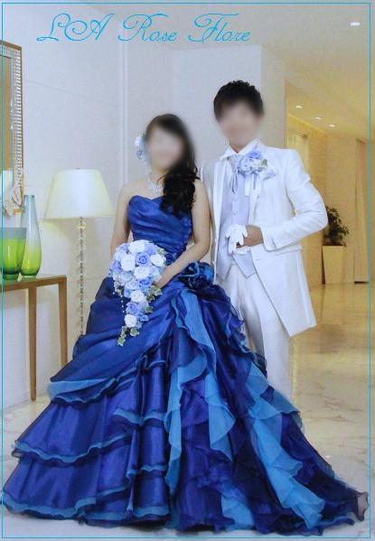 画像1: 白x青x水色のキャスケードブーケ&ヘッドドレス&ブートニアのセット
