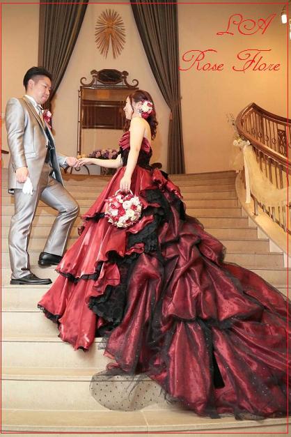 画像1: 赤xピンクのハート形ハンドバックブーケ&ヘッドドレス&ブートニアのセット
